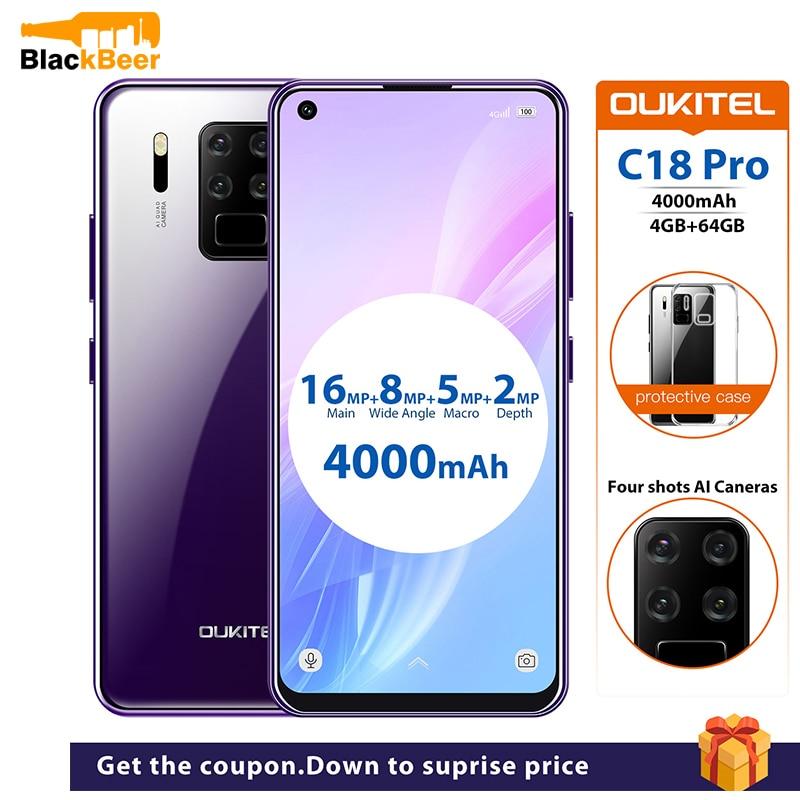 Перейти на Алиэкспресс и купить OUKITEL C18 Pro 6,55 дюйм4G мобильный телефон Android 9,0 MT6757 4 Гб 64 Гб смартфон с восьмиядерным дисплеем, 4000 мАч
