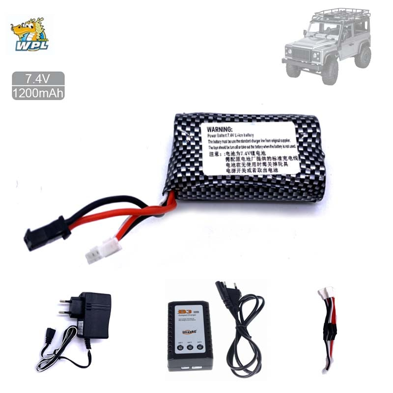 WPL RC Car MN99s MN90 D90 7.4V 1300mAh LiPo Battery With B3 Charger For B36 B36K C34 MN90K MN91 MN45