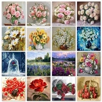 chenistory paint by numbers flower handpainted home decor canvas diy rainstones painting pictures by numbers kits for aduls gift