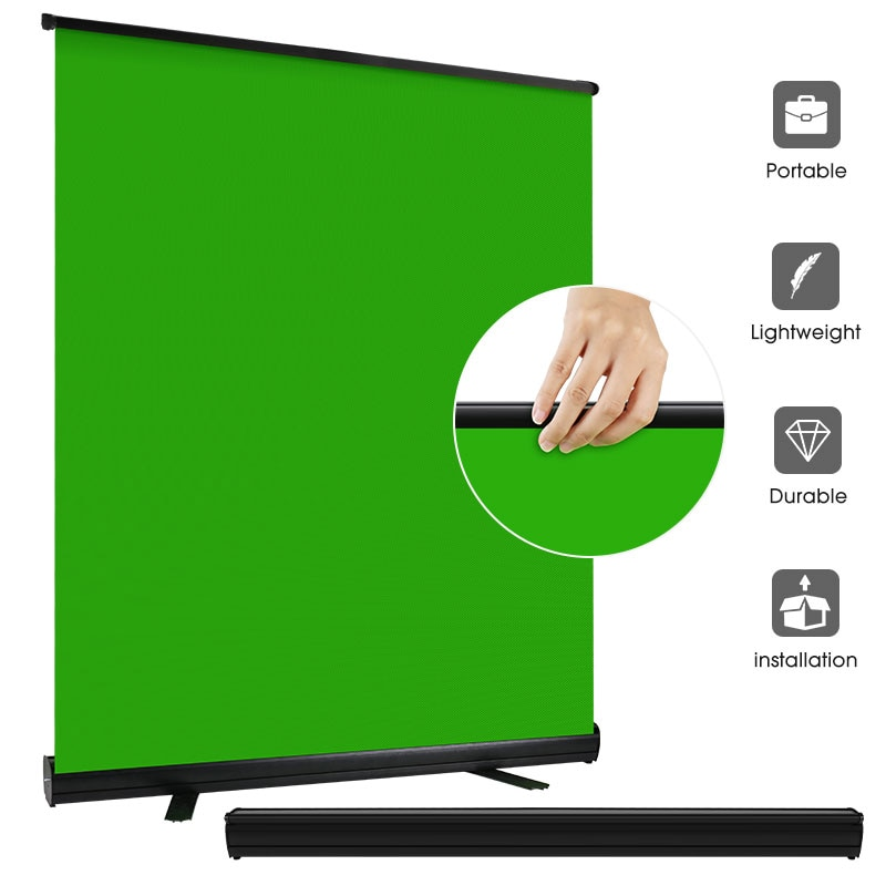 110cm/150cm Photography Green Screen Fabric Pull-up Style Background With Holder Collapsible Chromakey For Tiktok Video Virtual