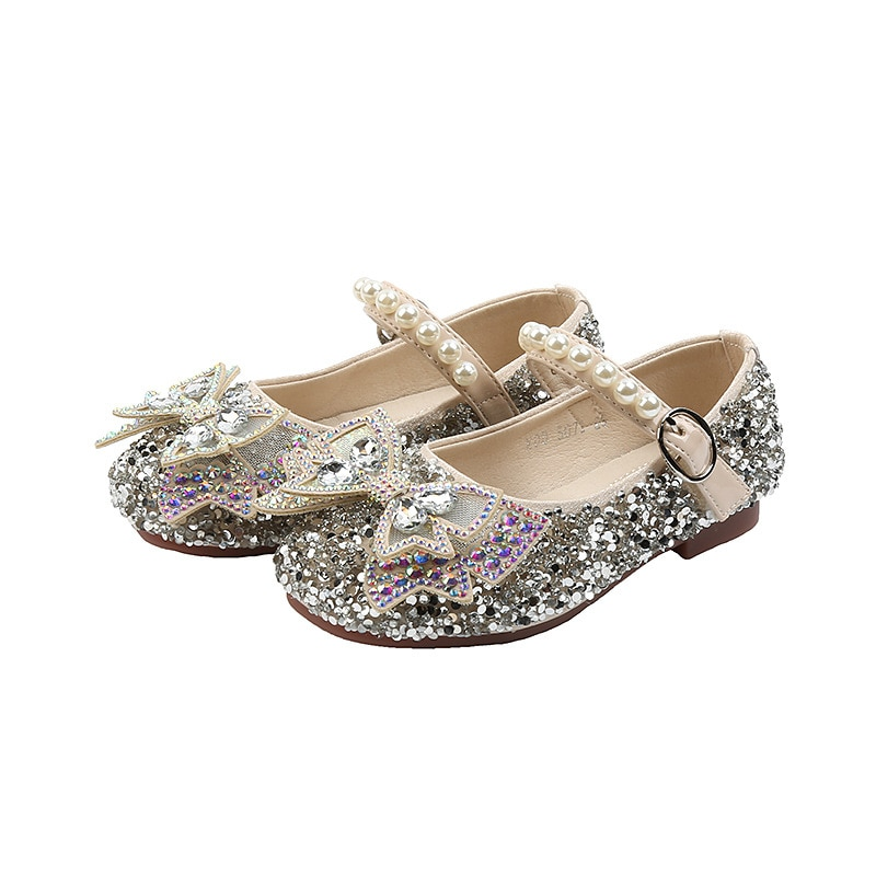 Baby Girls Shoes Sweet Princess Shoes 2020 Autumn New Fashionable Kids Single Shoe with Rhinestone S