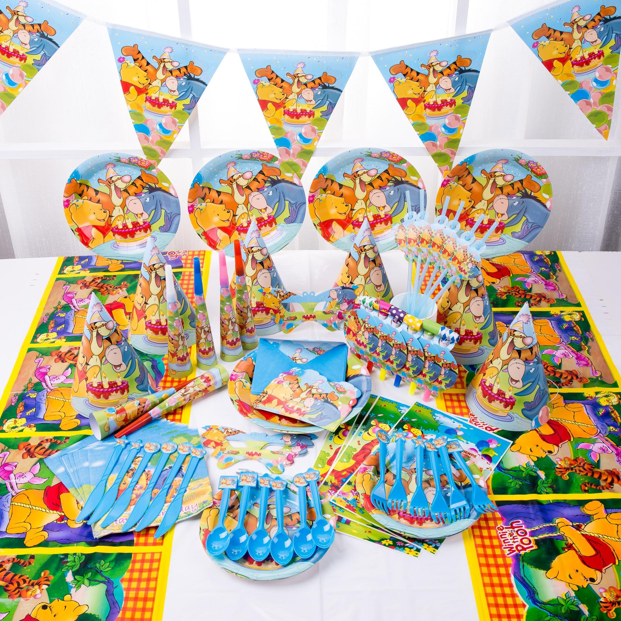 Winnie o pooh crianças decorações de festa de aniversário pratos de papel copos guardanapos descartáveis artigos de mesa chá de fraldas