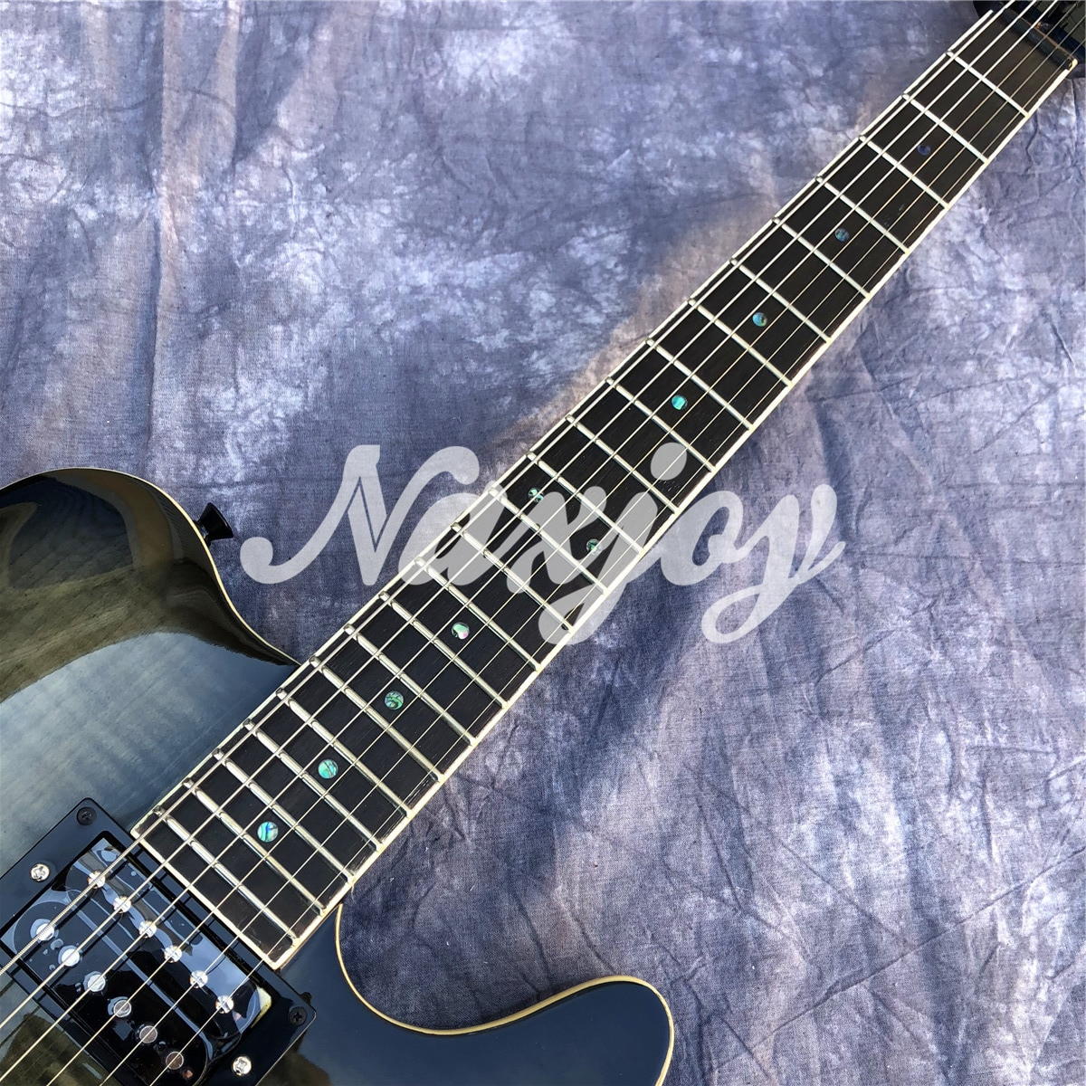 Black Color Flame Maple Top  6 Strings TL Electric Guitar with Solid Wood Body,Real Photos,Free shipping enlarge