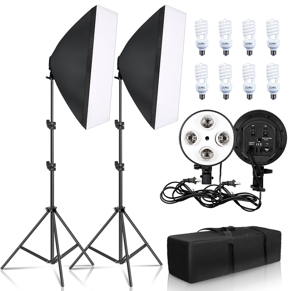SH Photography Softbox Lighting Kit Four Lamp Softbox Kit 50x70CM Soft Box Equipment E27 Base For Photo Studio Kit Shooting