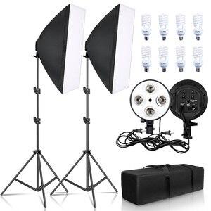 Софтбокс для фотосъемки 50x70 см, набор с четырьмя лампами, патрон E27, с 8 лампочками, аксессуары для студийной видеосъемки