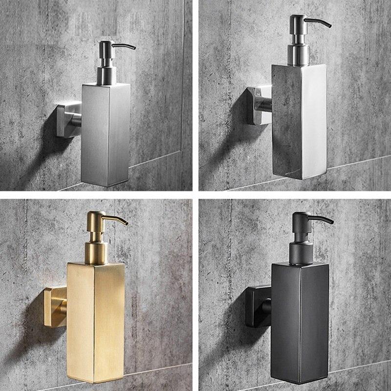 200 مللي موزع صابون سائل من الفولاذ المقاوم للصدأ 304 ، مربع وذهبي مصقول ، مثبت على الحائط ، للمطبخ ، الفندق ، الحمام
