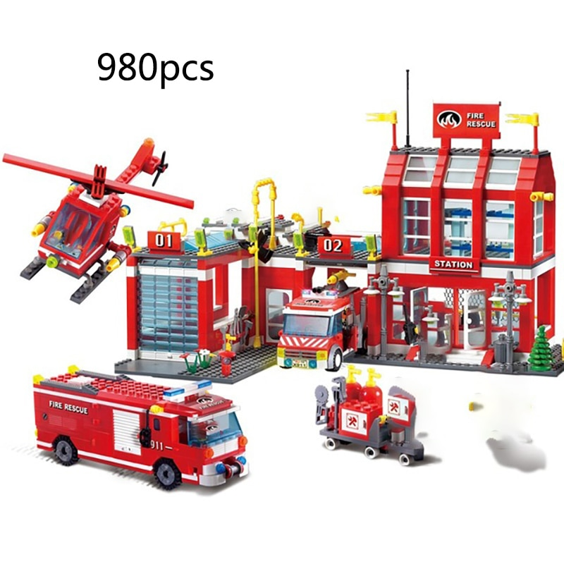 city fire building blocks sets firefighter urban helicopter 8 in 1 bricks toys for children christmas gifts City Fire station Series Building Blocks Truck Helicopter boat car firefighter Figures Bricks Toys For Children Birthday Gift