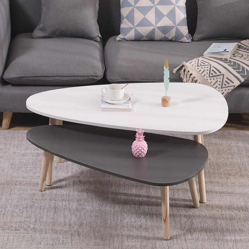 2 قطعة طاولة القهوة الشمال بسيط غير النظامية البيضاوي الحديثة غرفة المعيشة المنزلي مكاتب طاولة قهوة بيضاء صغيرة طاولة شاي طاولة قهوة HWC