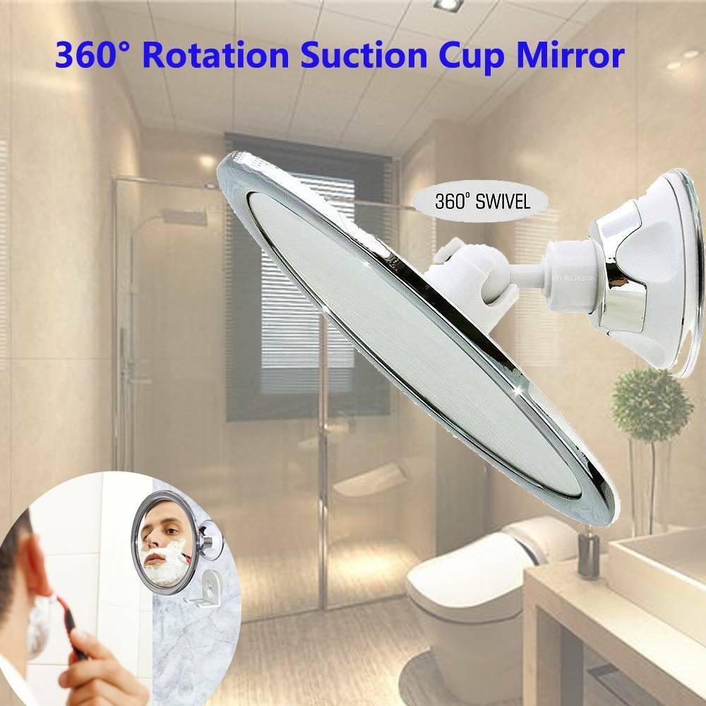 New Bathroom Mirror NO Fog Suction Cup Mirror Shower Shaving Makeup Fog Free Mirror 360 Degrees Adjustable Suction Cup Mirror