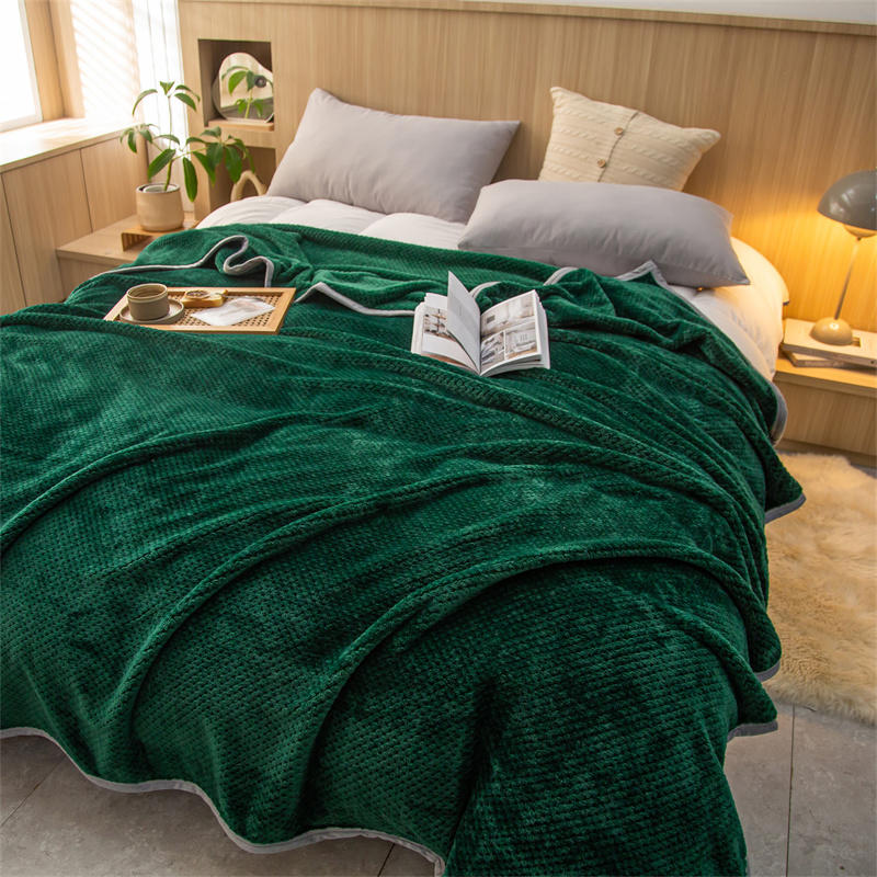البلايد للسرير لينة بطانية دافئة للشتاء اللون الأخضر سميكة منقوشة على سرير واحد/الملكة/الملك الحجم المفرش على السرير