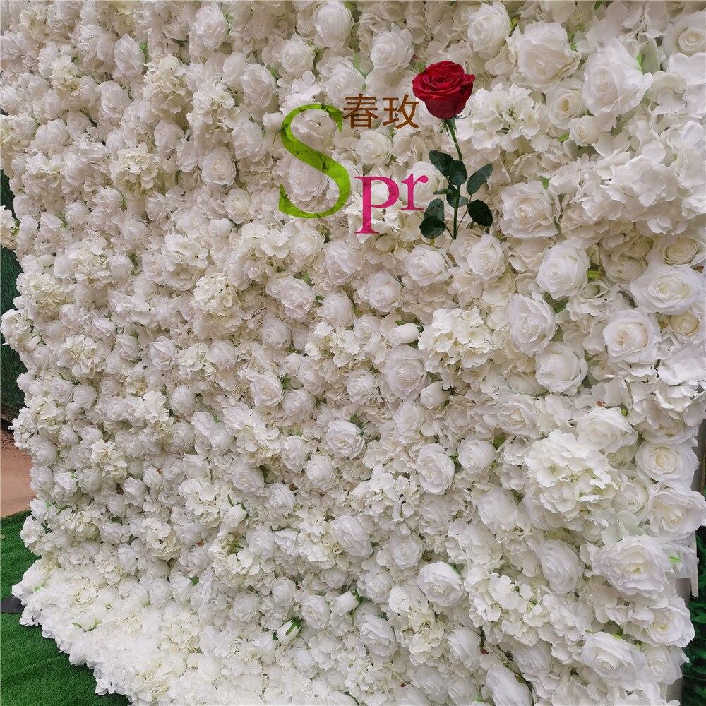 SPR كريم أبيض ثلاثية الأبعاد زهرة الجدار مع فراشة السحلية نشمر جدار الأزهار للحصول على خلفية الزفاف