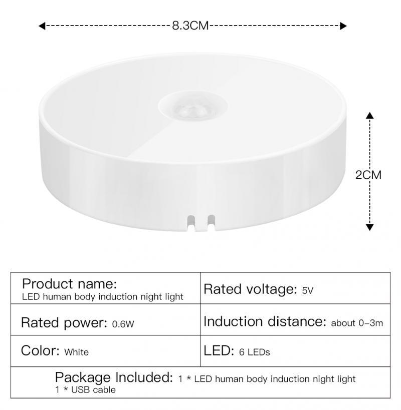 LED Motion Sensor Night Light USB Rechargeable Bedroom Wall Lamp Stairs Intelligent Body Light Sensor Lamp Home Energy-Saving enlarge