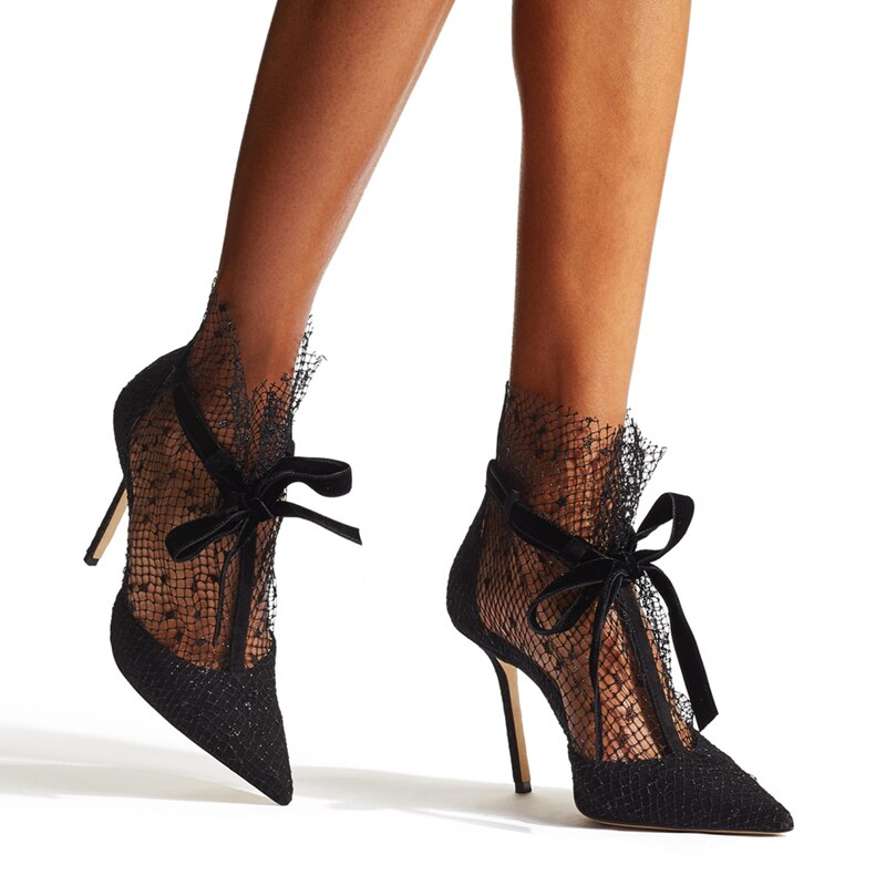 2021 Spring Pumps New Mesh Hollow Out Pointed High Heels Women's Thin Heel Sexy Lace Party Shoes Woman Mesh Lace Sandalias Mujer