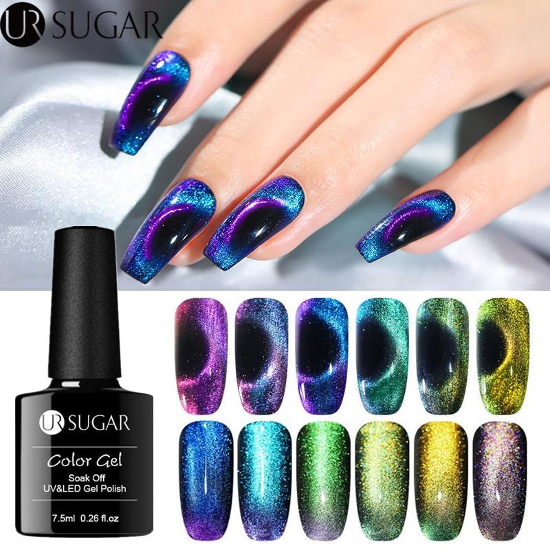 Azúcar UR 7,5 ml 9D uñas de ojo de gato esmalte de Gel camaleónico Gel magnético UV barniz 5D púrpura azul Soak Off UV LED Gel para decoración de uñas barniz