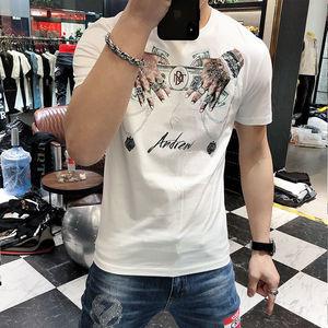 2021 summer new hot diamond short sleeve T-shirt men's Korean trend Joker handsome T-shirt jacket