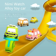 Fashion Alloy Toy Car Mini Q Version Car Bus Children Watch Interactive Induction Toy For Kids Gift