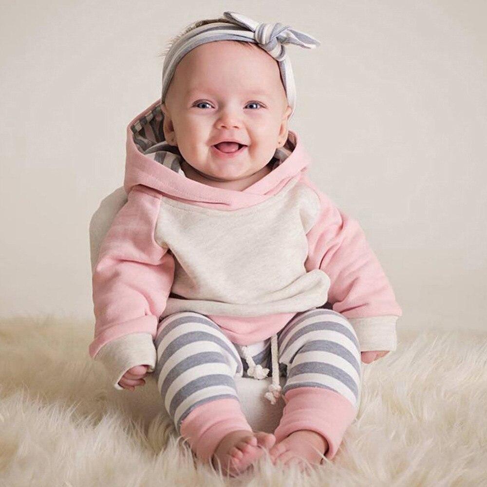 Nuevo conjunto de 3 uds ropa para bebé (niño o niña) Conjunto de Sudadera con capucha Tops + Pantalones + diadema trajes 0-24M Ropa para bebés