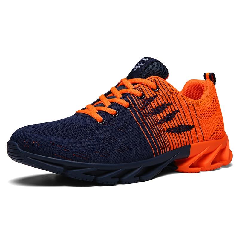 جديد تنفس تحلق المنسوجة احذية الجري أحذية رجالي عدم الانزلاق الدانتيل متابعة أحذية رياضية في الهواء الطلق أحذية رياضية Zapatillas Hombre Deportiva