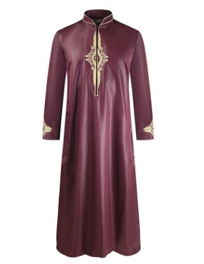 Summer new men's robes pure color loose comfortable Middle East Muslim embroidered long-sleeved big robe of foreign trade