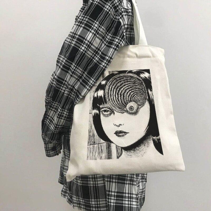 Японское аниме, женская сумка Tomie, готический ужас, мультяшная Холщовая Сумка, вместительная сумка для покупок в стиле Харадзюку, модная повседневная сумка через плечо