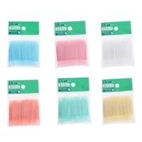 100pcslot soft plastic double headed brush stick floss pick toothpick oral care