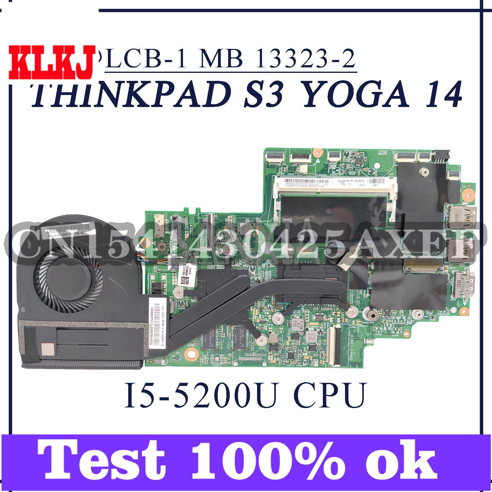 KLKJ 13323-2 اللوحة الأم للكمبيوتر المحمول لينوفو ثينك باد S3 اليوغا 14 اللوحة الرئيسية الأصلية I5-5200U PM