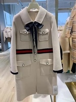 handmade wool coat beige high end double sided cashmere coat womens middle long fragrance color matching bow retro woolen coat