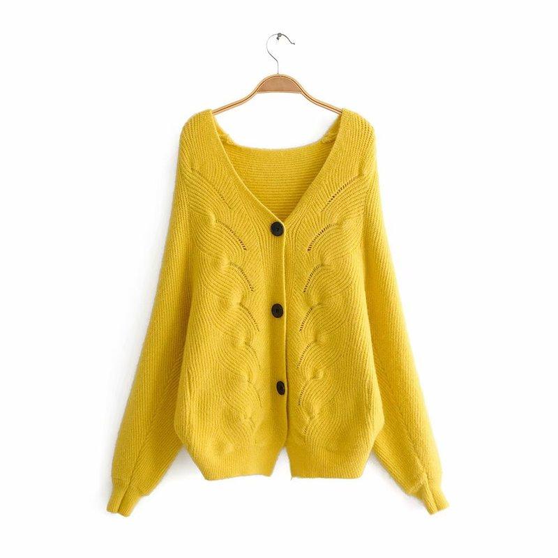Suéter cárdigan de cáñamo con botones de tres granos estilo moda europea y americana JJ50-9833