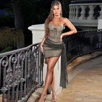 party evening dresses woman summer 2021 strapless corset mesh low cut patchwork mini dress for day wedding guests vestido