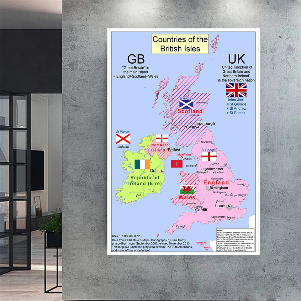 100*150 Cm The United Kingdom Map Art Poster Non-woven Canvas Painting Wall Sticker Card  Home Decoration School Supplies