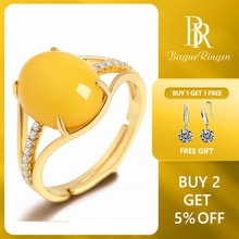 Bague Ringen 925 Silber Ringe für Frauen Edlen Schmuck Natürliche Gelbe Bernstein Ring Einstellbare Größe Hochzeit Engagement Geschenk