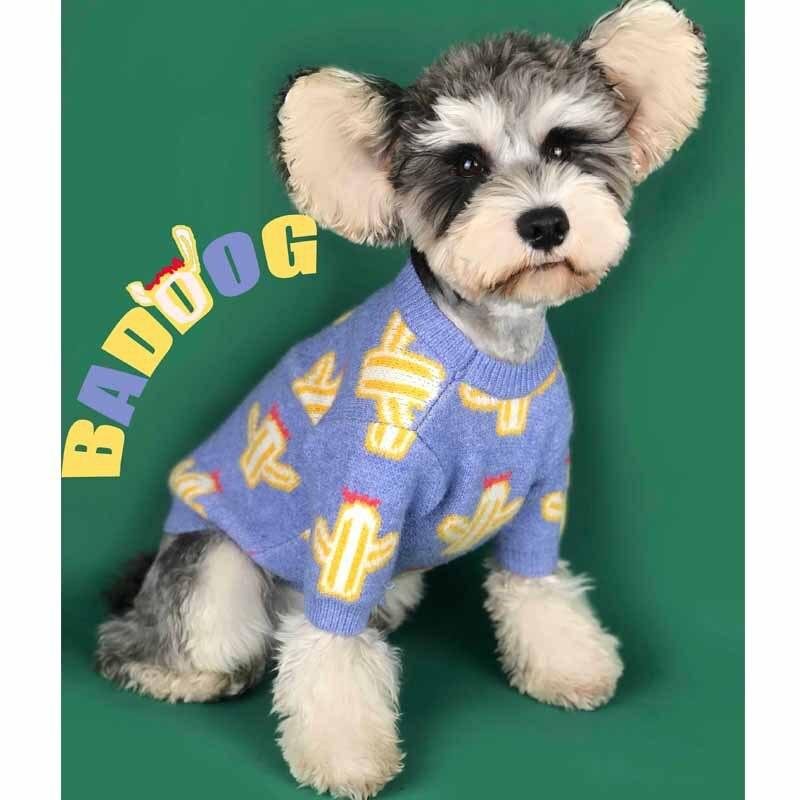 Frete grátis camisola do cão bonito cacto cor macaron engrossar camisola quente 2 cores para o inverno roupas para animais de estimação gato camisola dropship
