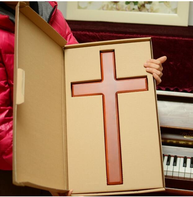 Cruz de madera maciza de alta calidad   Soporte para pared, Cruz Jesucristo, suministros para iglesia, para decoración del hogar, tamaño 46 cm