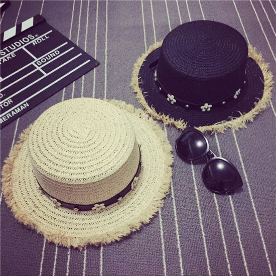 Daisy Diamond-Embedded Fashion Summer Flat Top Hat Korean Fashionable Women's Spring and Summer Brit