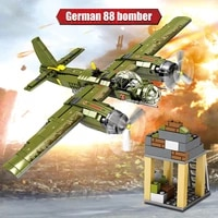 559pcs military ju 88 bombing plane building block ww2 helicopter army weapon soldier model bricks kit toy for children