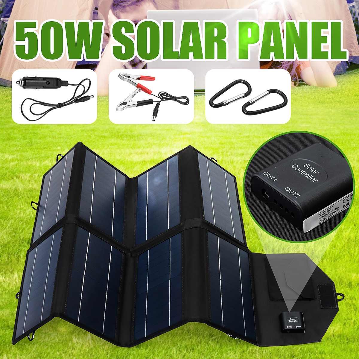 Panel Solar plegable de 50W y 12V, cargador portátil impermeable, Banco de energía móvil para batería de teléfono, puerto USB Dual para actividades al aire libre