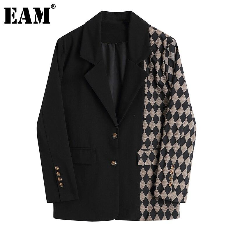 [EAM]Women Vintage Black Plaid Stitching Blazer New Lapel Long Sleeve Loose Fit  Jacket Fashion Tide Spring Autumn 2021 1DA745