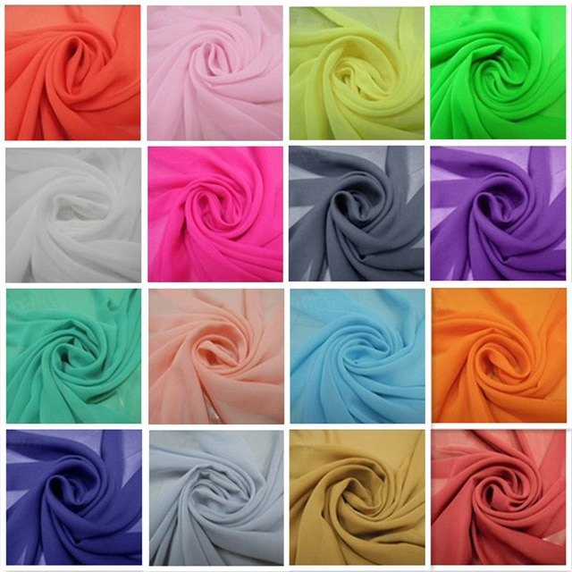 Polyester chiffon fabric solid soft for woman scarf in Summer multi-color SDW01