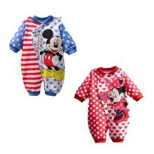 Vêtements de printemps Mickey pour bébés filles   Combinaisons chaudes et longues, vêtements pour bébés garçons et nouveau-nés, manches longues