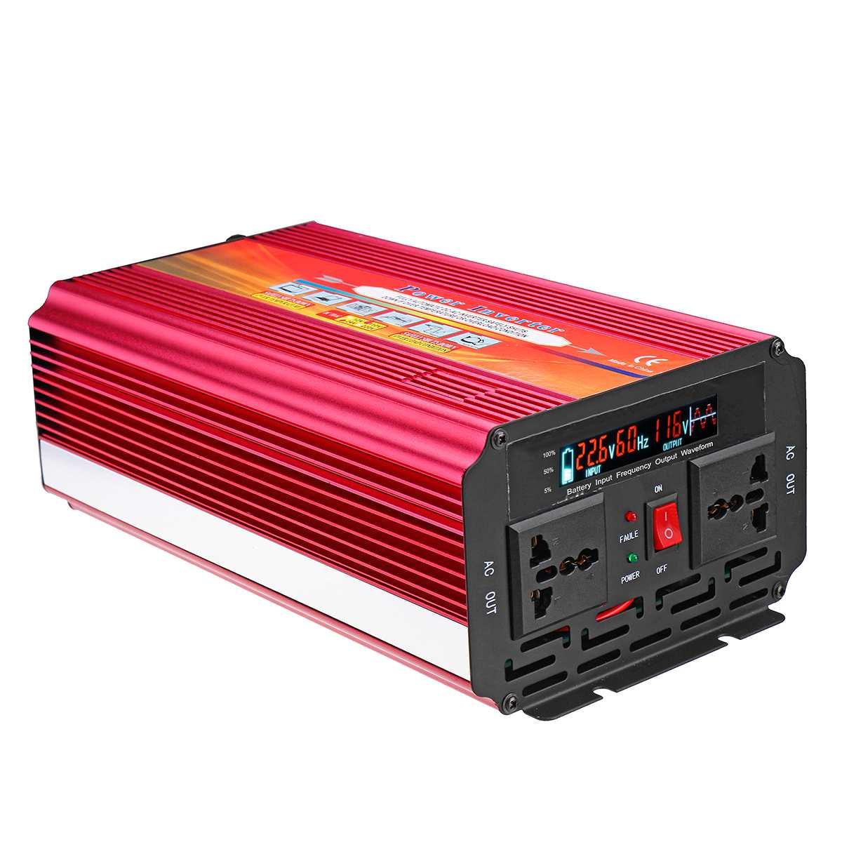 Inversor 12V 220 V/2000/3000 W/4000 W transformador de tensión del convertidor DC 12V a AC 220V inversor del coche 12 V/24 V a 110 V/220 V LCD