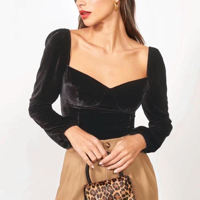 Blusa de manga larga de terciopelo con mangas abullonadas y cuello cariño para mujer