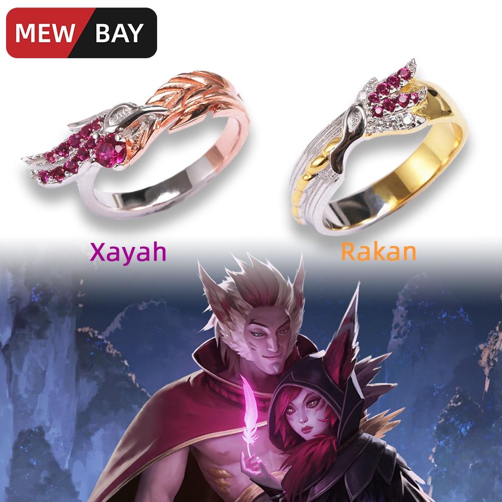 LOL Xayah и Rakan кольцо из стерлингового серебра S925 пробы, кольца для пар, Лига игр, периферийные устройства, для любителей легенд, для мужчин, женщин, мужчин, девушек, подарки