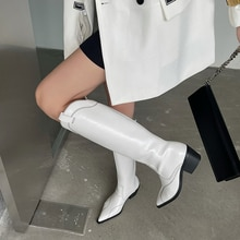 Fashion Pointed Toe Women Knee Boots Flat Mid Heels Black/White Winter Western Boots Sewing Design K