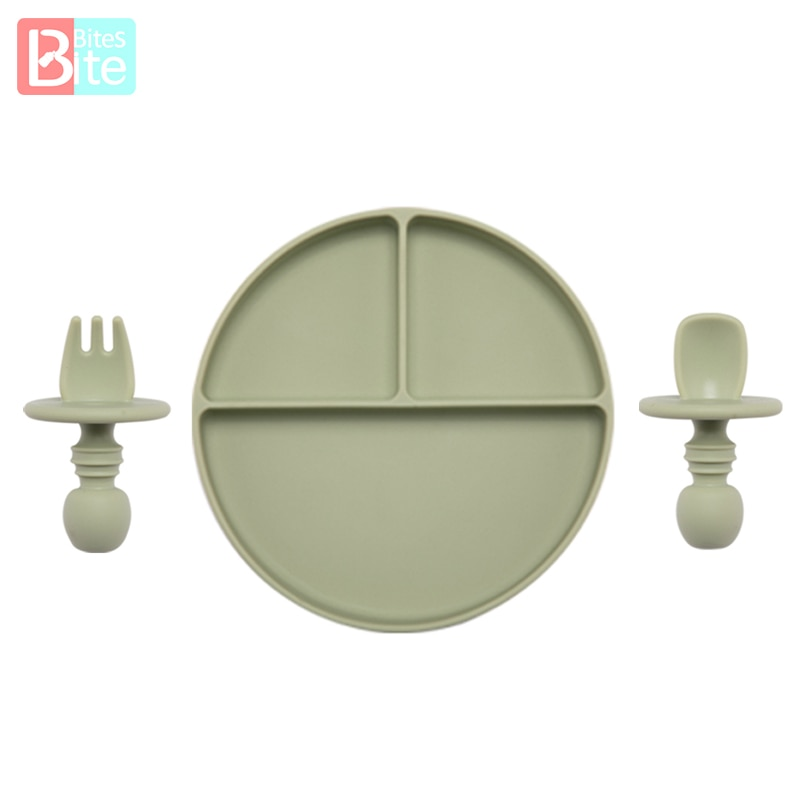 Fashion Solid Silicon Plate Set For Baby Kids Training Feeding Dinnerware Learning With Fork Spoon BPA Free