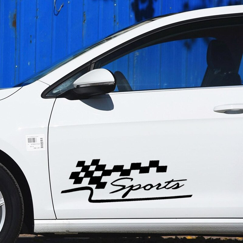 Calcomanías de coche deportivas a cuadros bandera a cuadros carreras calcomanías creativas para puertas decoración con estilo para coche 50cm 100cm D22