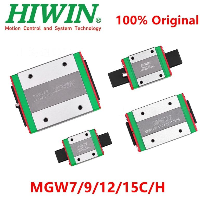 Carro de bloque lineal original Hiwin, MGW7C, MGW9C, MGW12C, MGW15C, MGW7H, MGW9H, mw12h, MGW15H para mgwwr, carril guía lineal