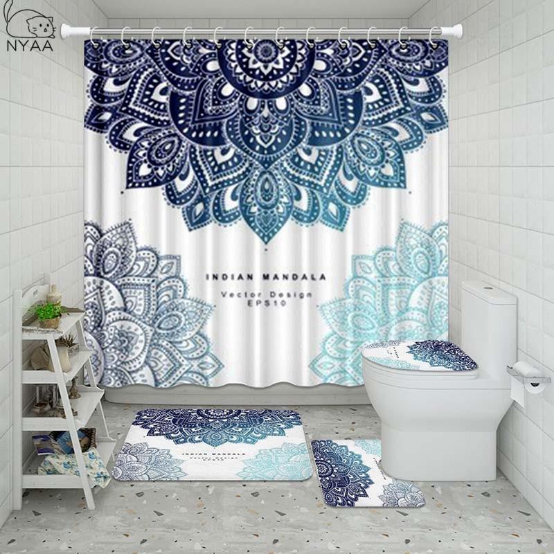 Vixm, conjunto indio Floral para baño, cortina de ducha a prueba de agua, Alfombra de Pedestal, tapa, alfombra, cubierta de baño, Set de cortina de baño