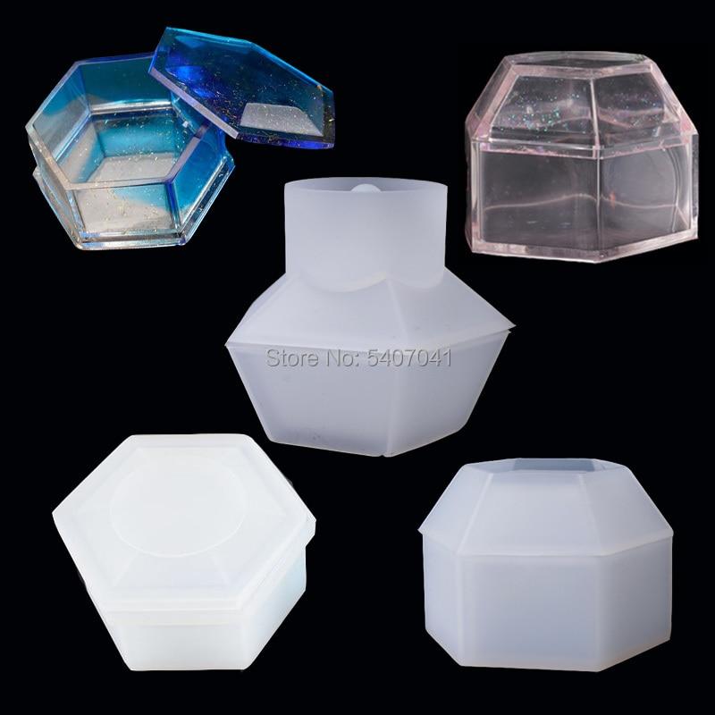 Pentágono o hexagonal o Octágono corte joyería caja de regalo caja almacenamiento molde UV resina moldes para joyería herramientas
