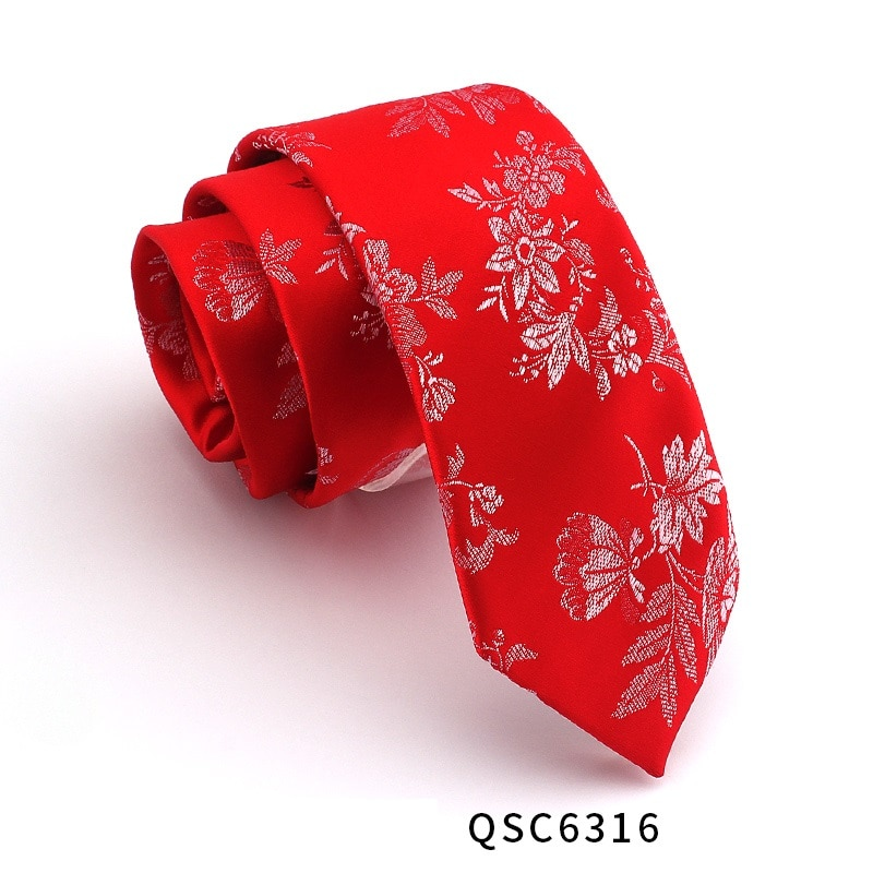 High Quality 2019 New Designers Brands Fashion Business Casual 7cm Slim Ties for Men Necktie Lucky Red Wedding with Gift Box