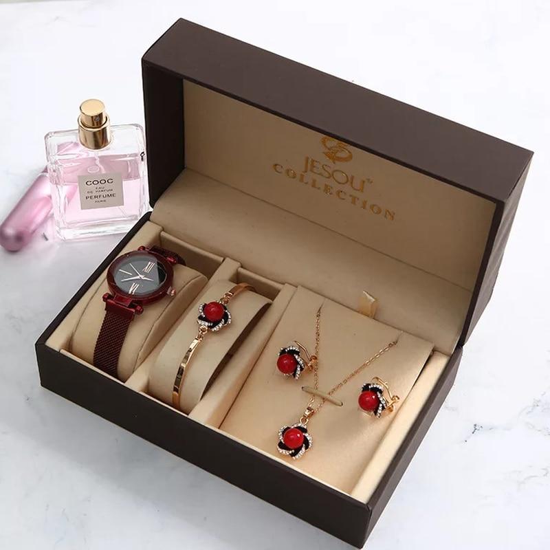 New Fashion Women Watches Set Luxury Diamond Earrings Necklace Bracelet Ladies Starry Sky Watch For Valentine Gift